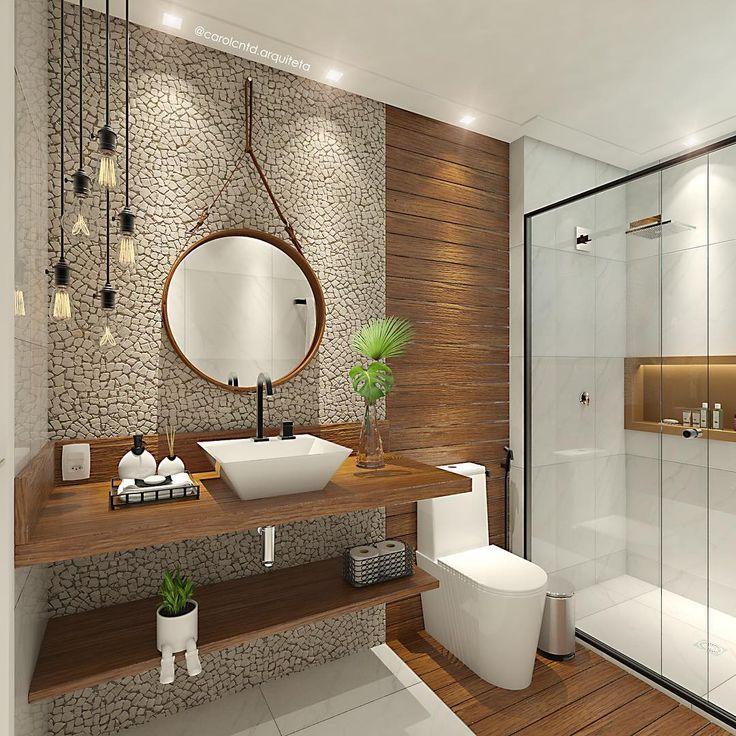 Projeto e 3D, autoria Arquiteta Carol Cantanhêde.   Banheiro com pegada industrial.  Visite meu perfil no instagram e saiba mais sobre este projeto.
