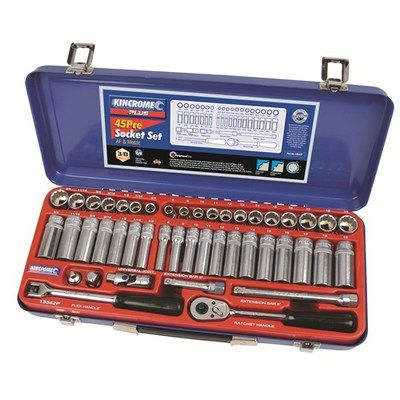 """Kincrome Socket Set 45 Piece AF & Metric 3/8"""" AF & Metric. #13542P 