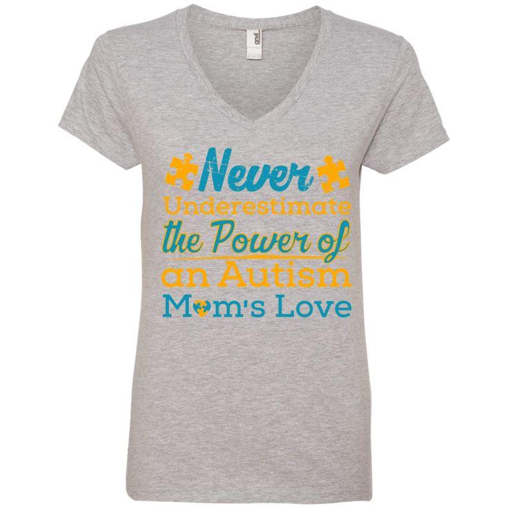 Ladies V-Neck Tee - Never Underestimate Autism Mom
