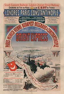 Aff ciwl orient express4 jw.jpg--Poster advertising the Winter 1888-89 timetable for the Orient Express.>> -- The Orient Express was the name of a long-distance passenger train service originally operated by the Compagnie Internationale des Wagons-Lits. It ran from 1883 to 2009 and is not to be confused with the Venice Simplon-Orient-Express luxury train service, which continues to run.