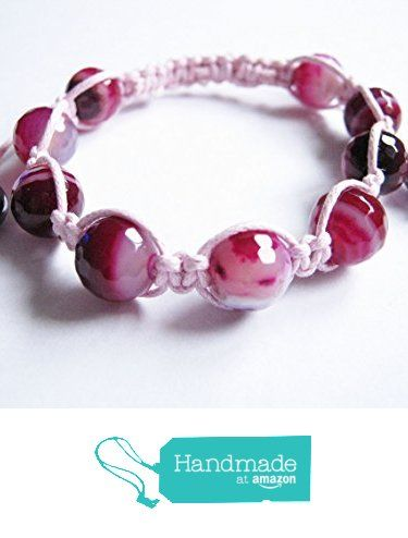 Pink Lace Agate Gemstone Shamballa Style Bracelet from Anneth Designs https://www.amazon.co.uk/dp/B01M3VTGMG/ref=hnd_sw_r_pi_dp_kxi-yb02SYG66 #handmadeatamazon