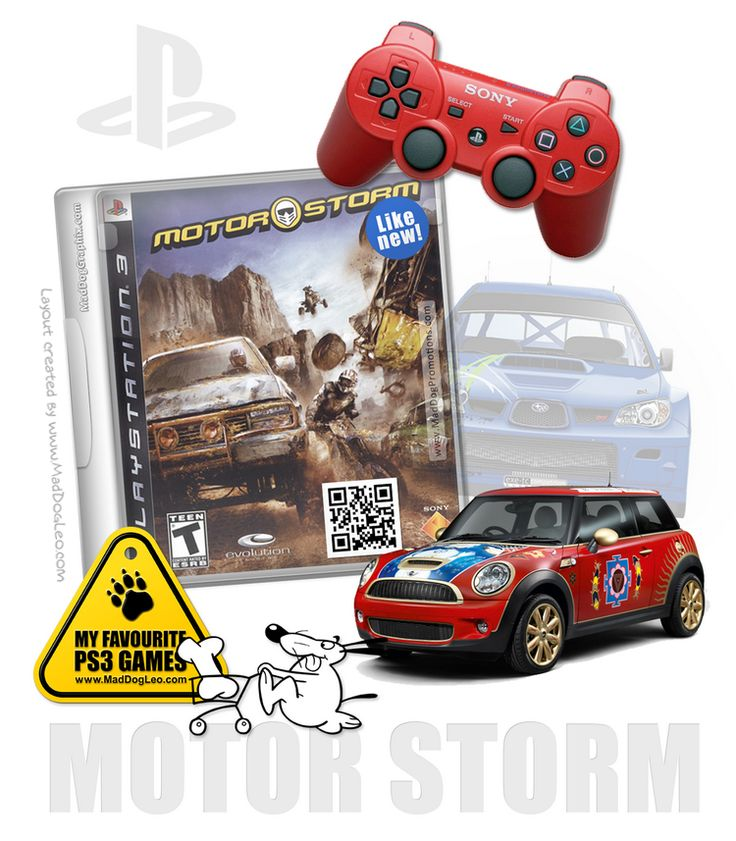 Mock up of a the PlayStation (PS3) game Motor Storm.  Playstation PS3 games by Sony - Motor Storm-Survive The Off-Road - MadDogLeo.com