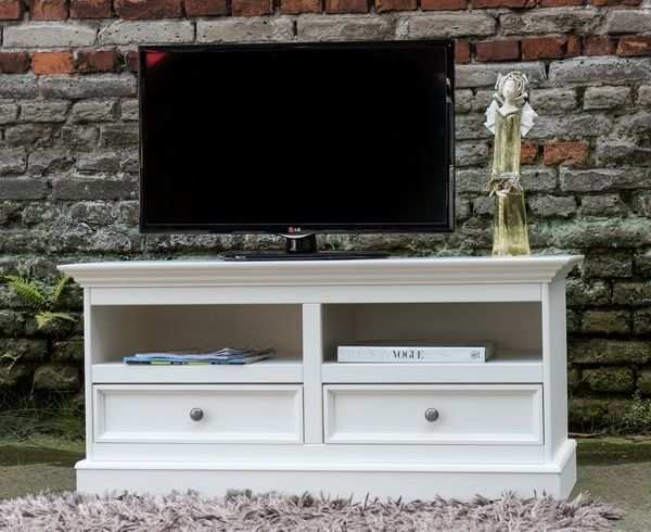TV komoda Belluno Elegante, bílá, masiv, borovice