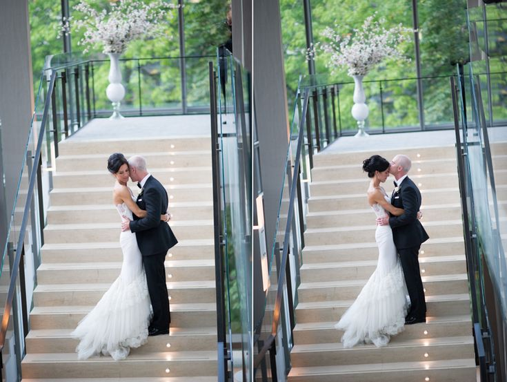 Stunning couple on staircase at Royal Conservatory of Music