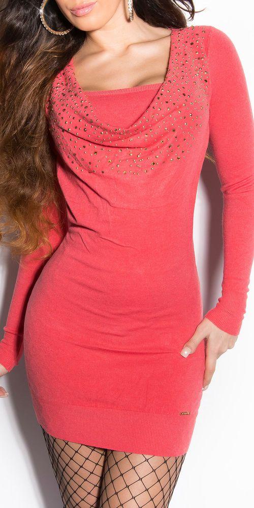Koucla Pullover Longpullover Strickkleid Strass Spitze Schnürung Sweater Kleid