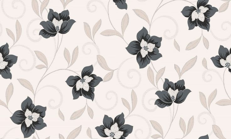 Snowberry (M0914) - Vymura Wallpapers - An all over wallcoverings featuring delicate swirling flower motif, embellished with glitter on matt background. Shown here in the slate colourway. Other colourways are available. Please request a sample for a true colour match.