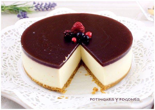 POTINGUES Y FOGONES: Tarta de queso con gelatina de arándanos (sin horno)
