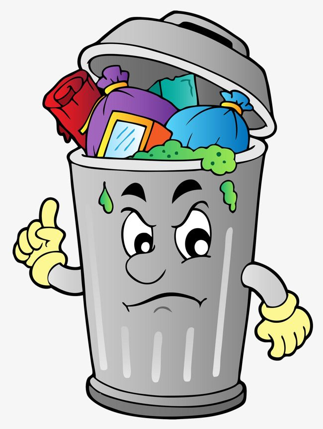 The Rubbish In The Garbage Can Can Clipart Cartoon Garbage Png