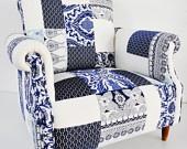 Love this.   blue & white porcelain patchwork armchair