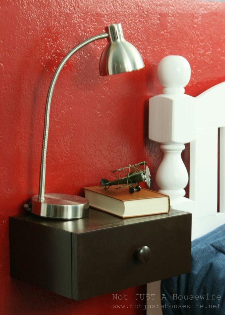 Floating bedside shelves DIY