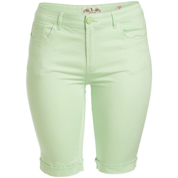 JZ JEANS Mint Bermuda Shorts ($15) ❤ liked on Polyvore featuring shorts, plus size, women's plus size shorts, stretch shorts, mint green shorts, bermuda shorts and mint shorts