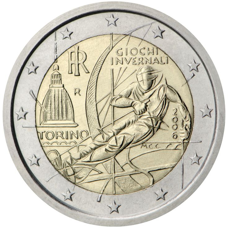 XX Olympic Winter Games - Turin 2006. An image of a skier, a dynamic, curvilinear figure, is in the centre of the coin. Above him are the words 'GIOCHI INVERNALI' and to his left the location of the Winter Games is marked by the word 'TORINO' and an image of Turin's landmark Mole Antonelliana building. The monogram of the Italian Republic 'RI' and the mintmark 'R' are also to the skier's left.  Issuing volume: 40 million coins  Issuing date: January 2006