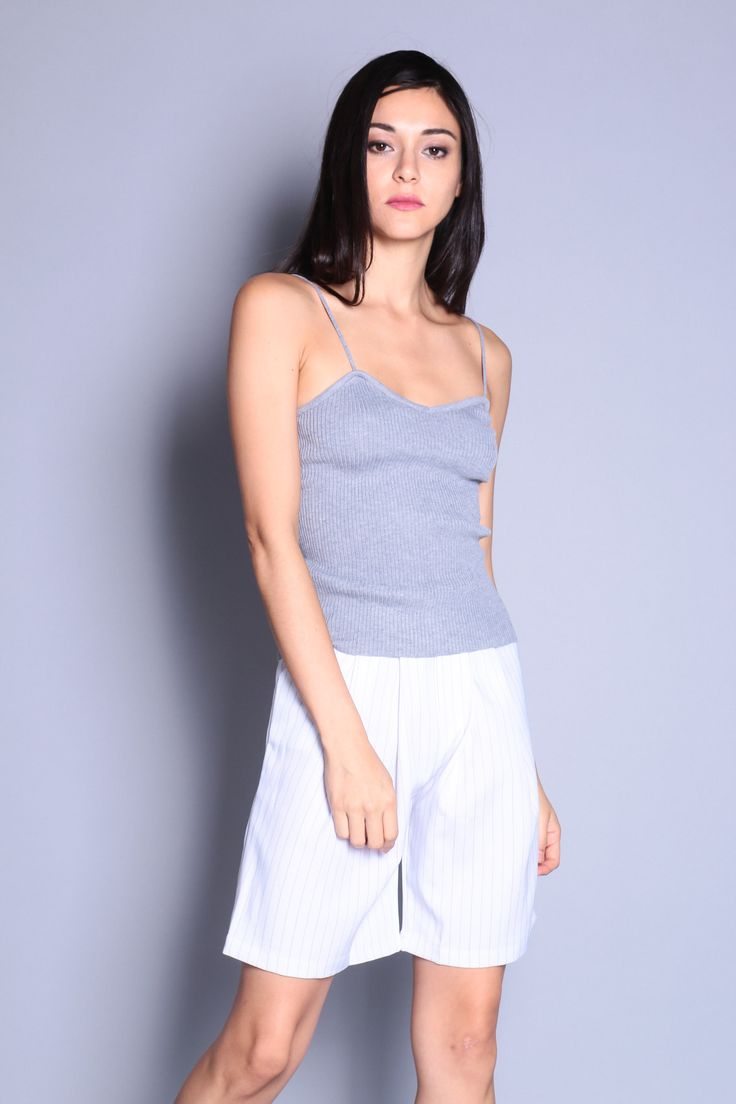 Sweetheart Cami Knit Top (Grey) SGD$ 26.00