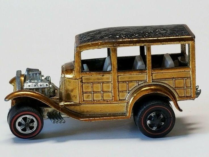 Vintage Hot Wheels Redline 1968 Classic 31 Ford Woody Diecast Gold Car Mattel #H…