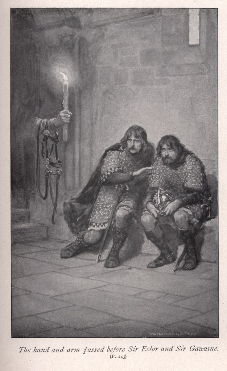 The hand and arm passed before Sir Ector and Sir Gawaine by: W. H. Margetson