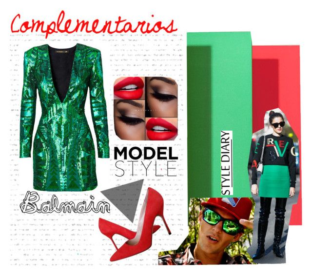 """Complementary red green colors outfit"" by leloquevedo on Polyvore featuring Manolo Blahnik, Balmain, women's clothing, women, female, woman, misses and juniors"