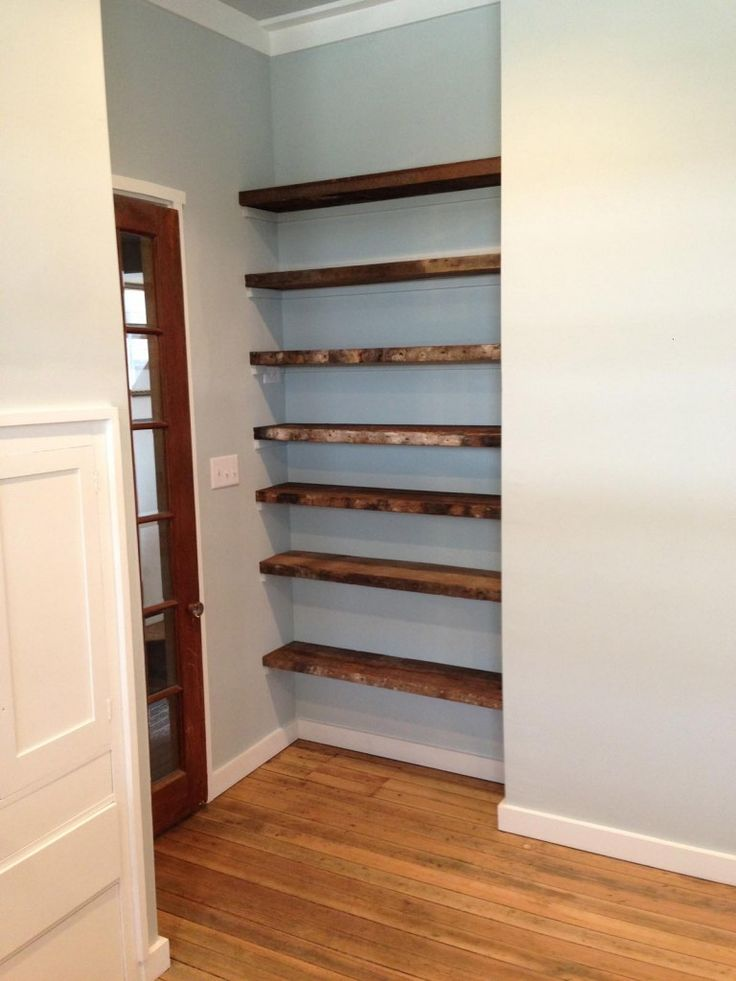 Reclaimed Wood for Shelves in alcove