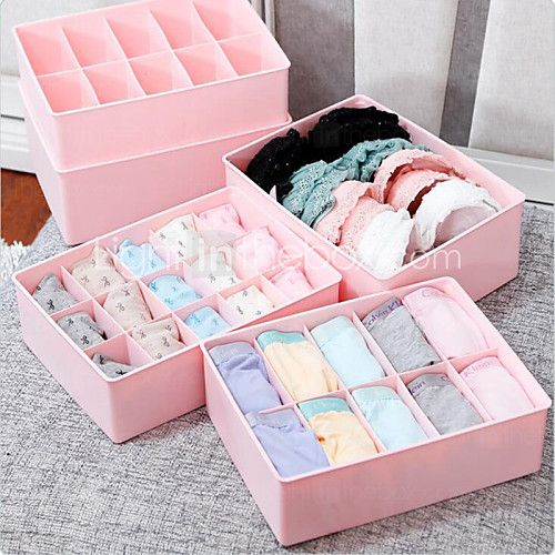 15 Case Underwear Socks Ties Bras Wardrobe Organizer Drawer Pink Storage PP Plastic Box 2017 - £12.29