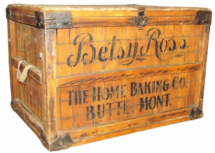 Betsy Ross Baking Company Wood Crate - Original Stenciling Leather Handles And Hardware - sold