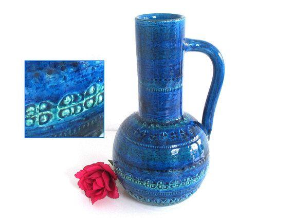 Blue on blue jug vase - Rimini Blu BITOSSI, designed by Aldo Londi. Large Italian floor vase.  Art pottery from Italy.  c. 1960s