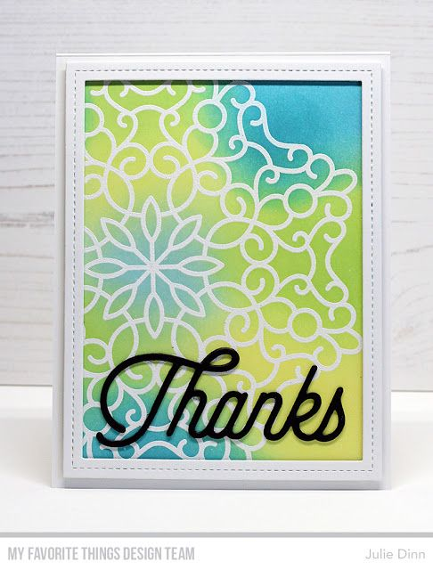 Stamps: Magical Mandala Background Die-namics: Twice the Thanks, Single Stitch Line Rectangle Frames  Julie Dinn #mftstamps