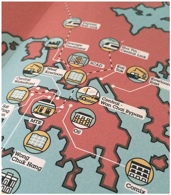 Monocle #74 - Hong Kong Feature by MUTI, via Behance #mapping