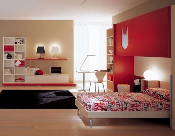 Modern minimalist bedroom for teen with bright red fun for Minimalist bedroom for teenager