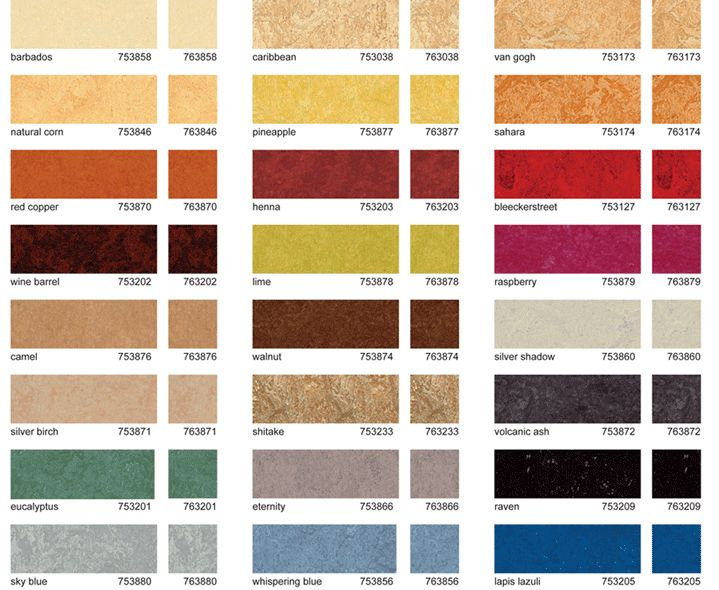 Nature Neutral: Environmentally preferable products and building supplies for construction, renovation and everyday living. Marmoleum colors, warmer than other floor types.