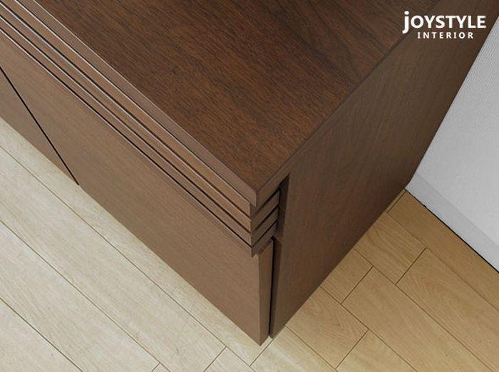 引出1杯、開き戸の収納力たっぷりのFAX台。JOYSTYLE限定モデル 幅60cm ウォールナット材 無垢材 天然木 木製収納家具 格子をモチーフにしたデザインのFAX台・電話台 ファックススタンド キャビネット GRID+FS60WN