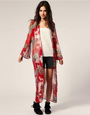Oh My Love Chiffon Kimono Jacket In Paisley Print