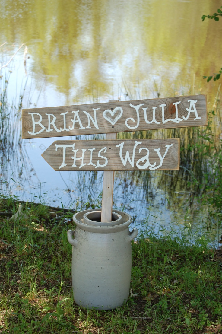 Wedding Sign ALICE IN WONDERLAND Font Party Sign This Way  2 Directional Arrow Signs With Stake. Wooden Signs. Reclaimed Wooden Sign. $70.00, via Etsy.