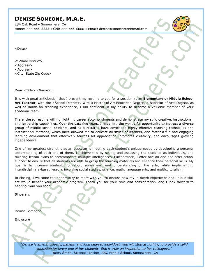 Sample Art Teacher Cover Letter art room/projects Sample resume