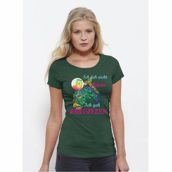 """Sehr schönes woman T-Shirt mit dem bekannten """" abstürzen Motiv aus Berlin"""". Das Shirt besteht aus Single Jersey 100% ringgesponnene, gekämmte Bio-Baumwolle 155 g/m². Es hat eine taillierte Passform  mit  schmalem Kragen in 1x1-Rippstrick mit Nackenband Schmale Doppelnähte an Saum und Ärmeln Gerader Saum. Natürlich mit dem bekannten Nackenlogo im Rücken. Bitte beachten Sie die Pflegehinweise auf www.ajz-shirts.de."""