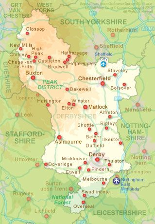Derbyshire & Surrounding Areas (Peak District) . East Midland's Airport is in Leicestershire and not known as Nottingham Airport :o)