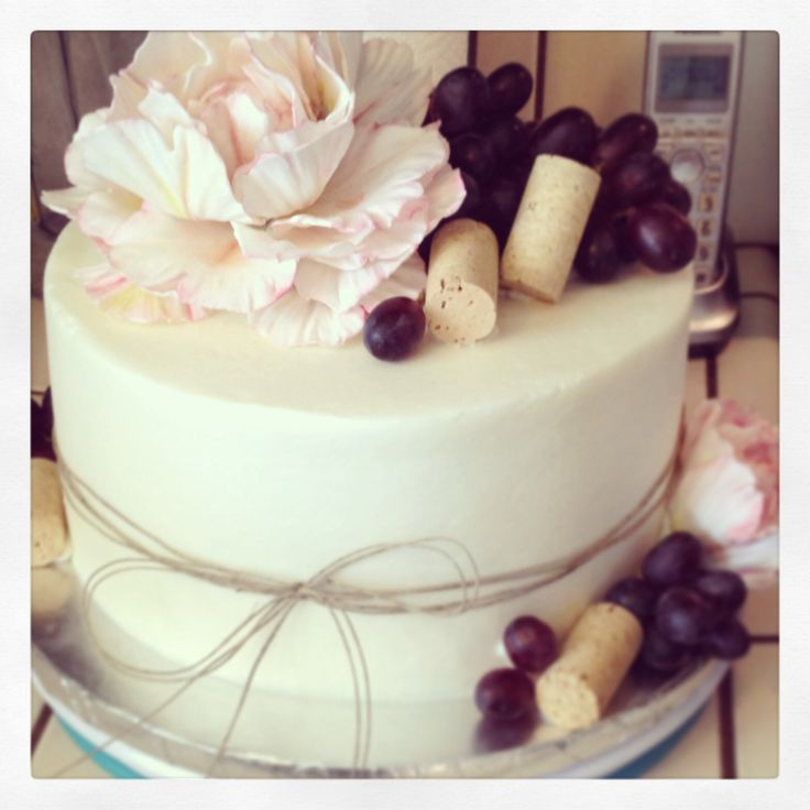 Wine themed bridal shower cake