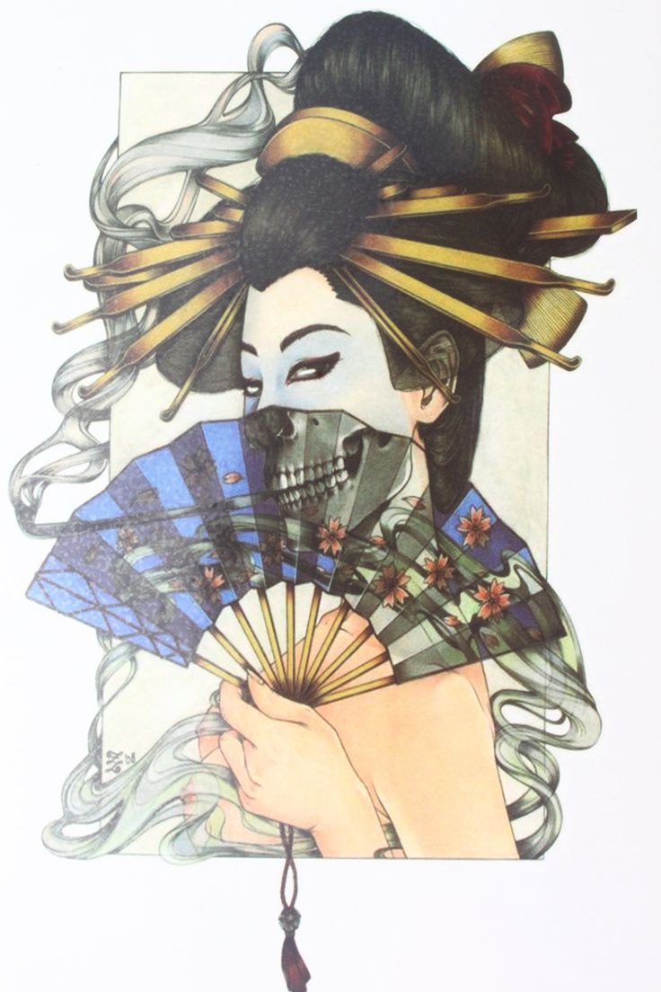 Japanese style vicious girl with blue fan Size 22 x 12cm Brand New Body Art tatoo Temporary Tattoo Exotic Sexy Henna Tattoo  http://ali.pub/3imcj