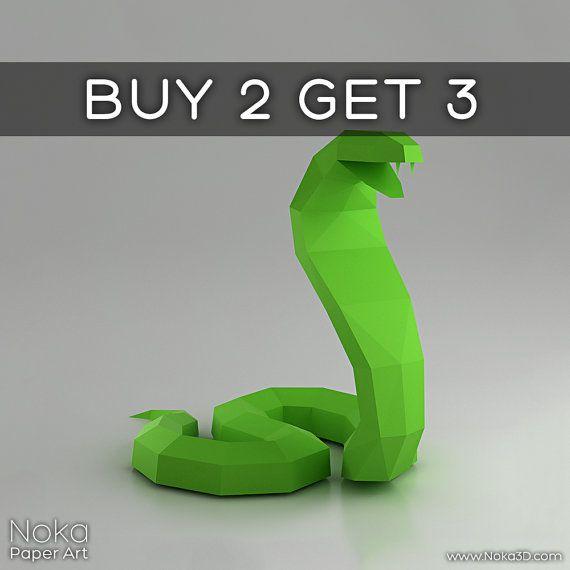 Kobra  Schlange 3D Papercraft Modell. von NokaPaperArt auf Etsy