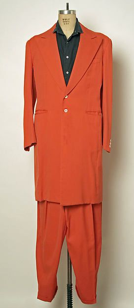 Zoot suit: This was a suit worn mostly by African American's during the war. These were a symbol of rebellion because there were regulations against using too much fabric and these were oversized with a  lot of extra fabric.