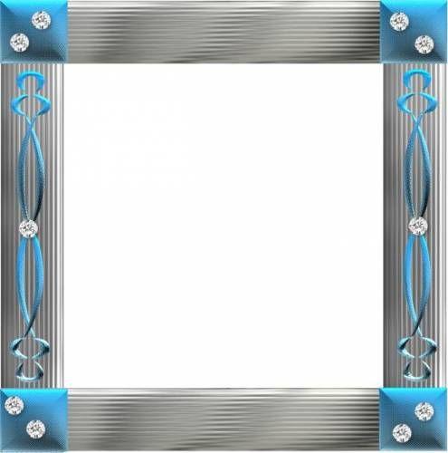 Квадратные Серебристая рамка с голубым украшена камнями рамки