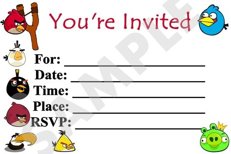 Angry Birds Birthday Party Invitation Template Free Angry Birds Printable Party Invitation Angry Birds