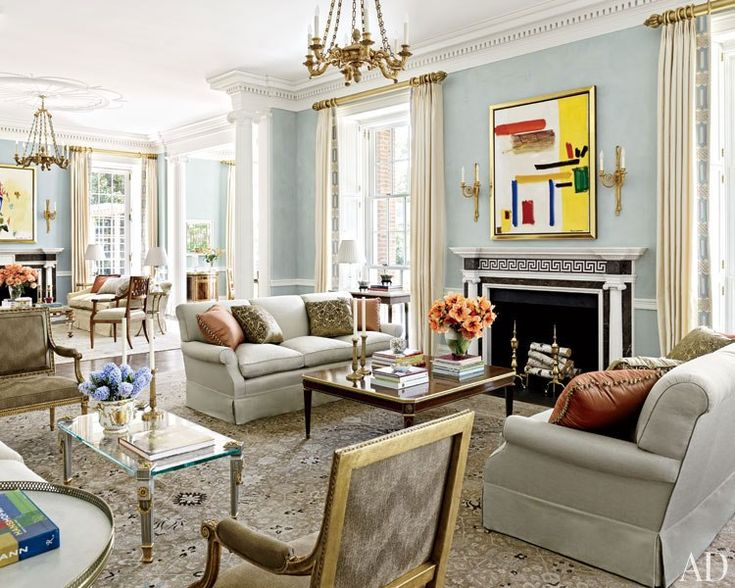 Allan Greenberg and Elissa Cullman Design a Federal-Style Mansion - living room furniture houston