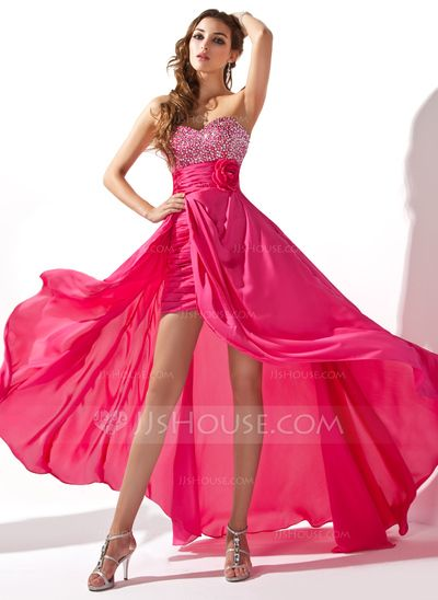 Prom Dresses - $140.49 - A-Line/Princess Sweetheart Asymmetrical Detachable Chiffon Prom Dress With Ruffle Beading Flower(s) Sequins (018020801) http://jjshouse.com/A-Line-Princess-Sweetheart-Asymmetrical-Detachable-Chiffon-Prom-Dress-With-Ruffle-Beading-Flower-S-Sequins-018020801-g20801?ver=xdegc7h0