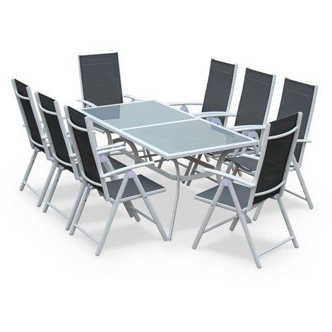 Conjunto de mesa y sillas, aluminio, Blanco / gris - 8 plazas - NAEVIA - TX190X8WHGY - Jardines y piscinas