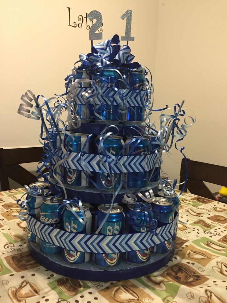Beer can cake for 21st birthday #birthday #party #21 #custom #beercancake #budlight #diy