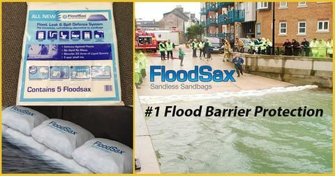 Floodsax instant sandbags as flood barrier flood protection