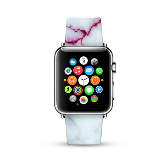 Apple Watch Band 38mm, 42mm for Series 1 Series 2, Apple Watch Strap Calf Leather Wrist Band with Metal Adapter, White Faux Marble