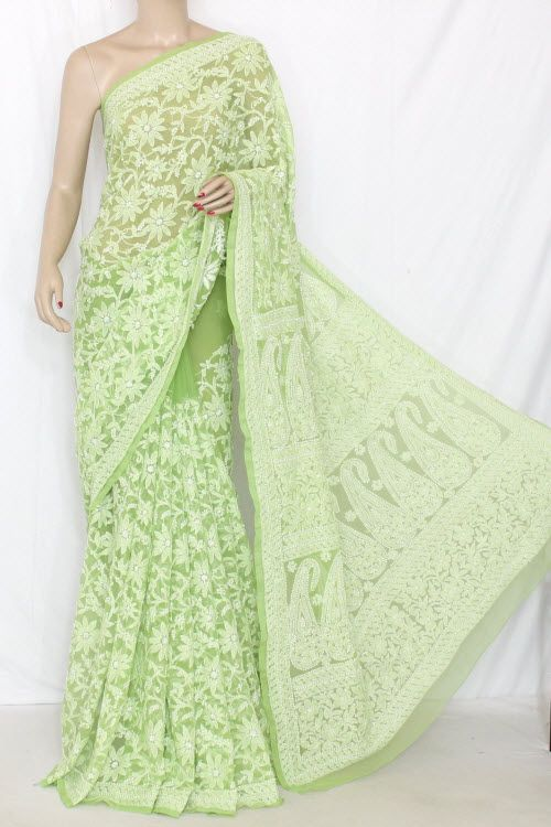 Menhdi Green Allover Hand Embroidered Lucknowi Chikankari Saree (With Blouse - Georgette) 14296