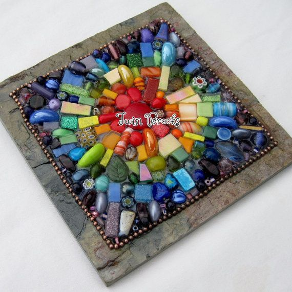 Rainbow Burst Mixed Media Mosaic on Slate by twinbrooks, $45.00