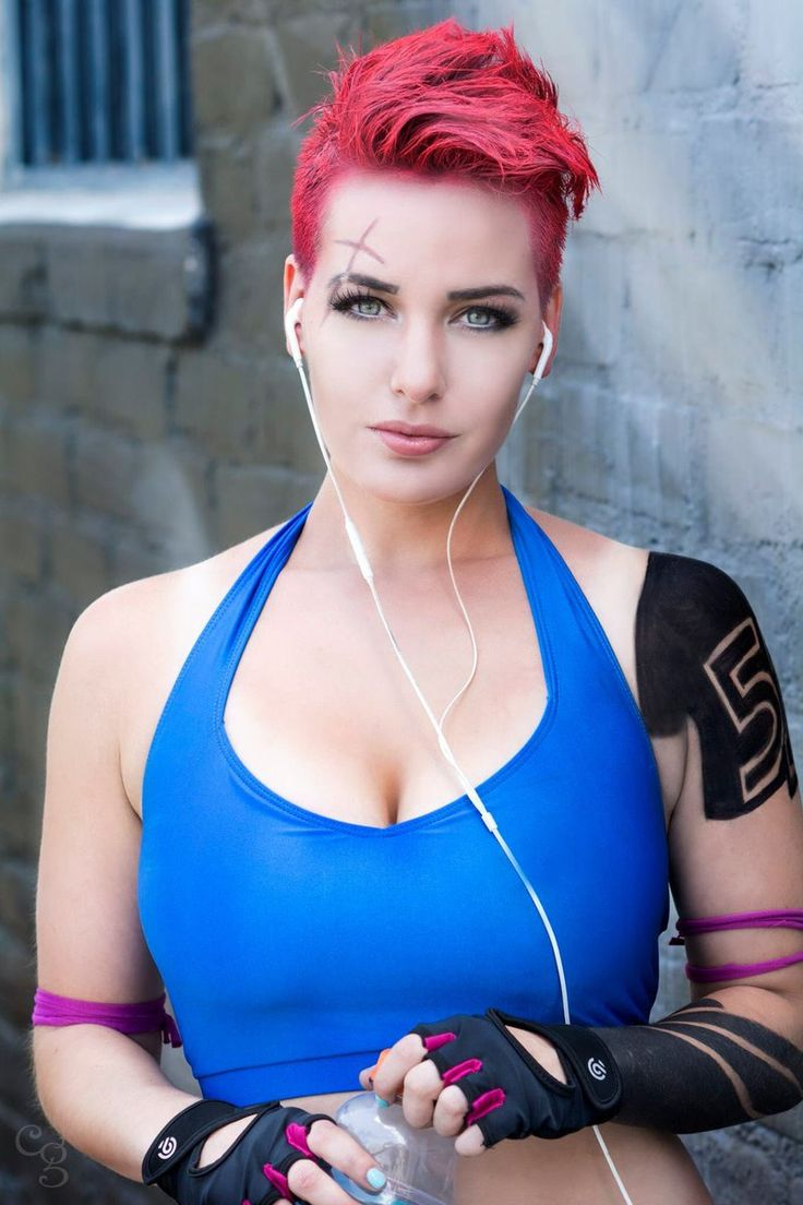 """Beautiful shot of @ItsLisaLouWho as Zarya rockin some fitness! - More at https://pinterest.com/supergirlsart   #ZARYA"