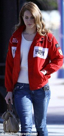 the pics of Lana wearing this Ferrari jacket are priceless